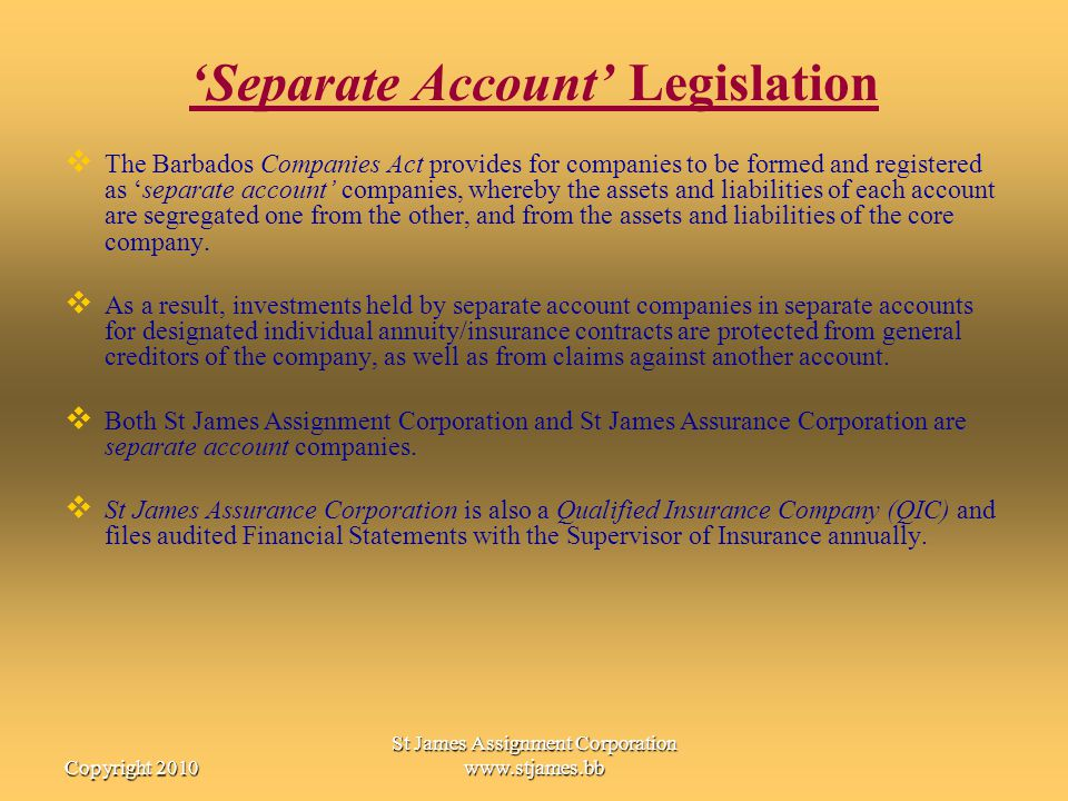 'Separate Account' Legislation