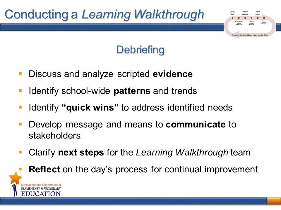 Conducting a Learning Walkthrough