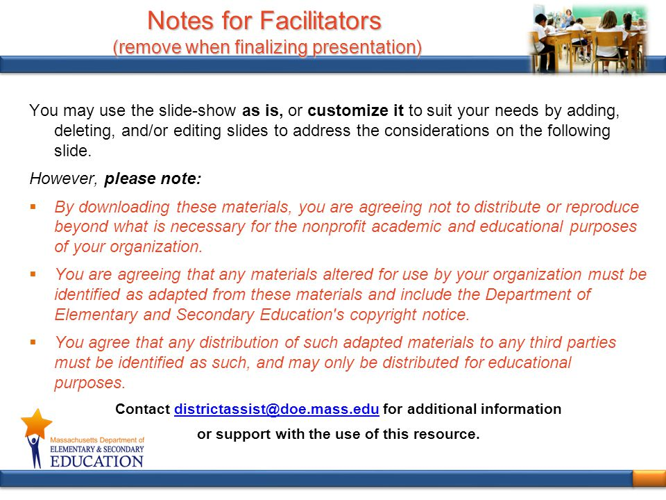 Notes for Facilitators (remove when finalizing presentation)