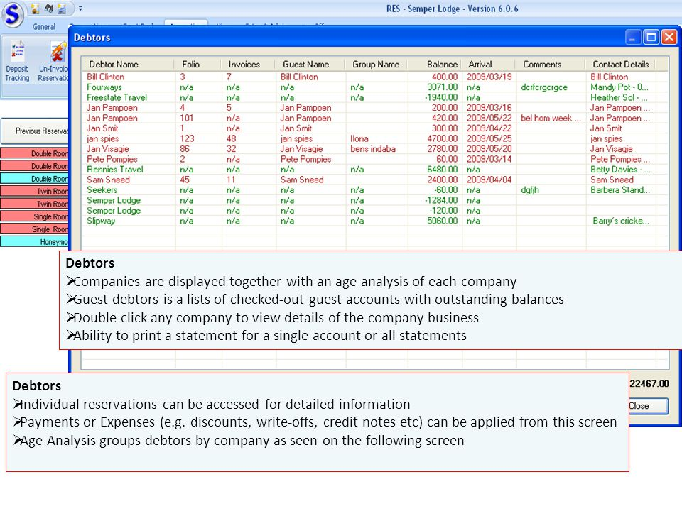Debtors Companies are displayed together with an age analysis of each company.