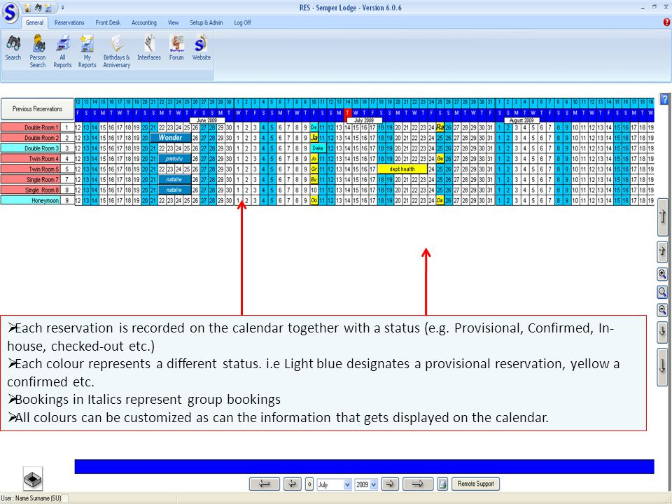 Each reservation is recorded on the calendar together with a status (e