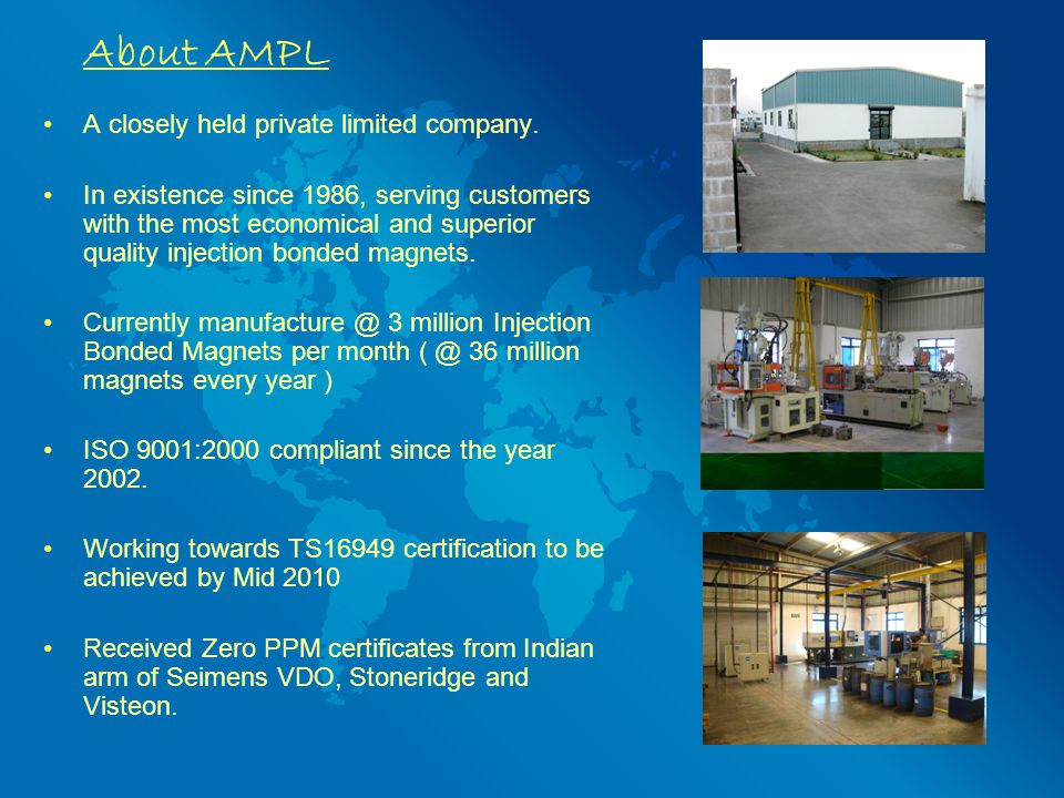 About AMPL A closely held private limited company.