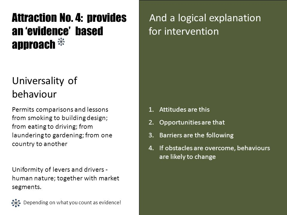 Attraction No. 4: provides an 'evidence' based approach