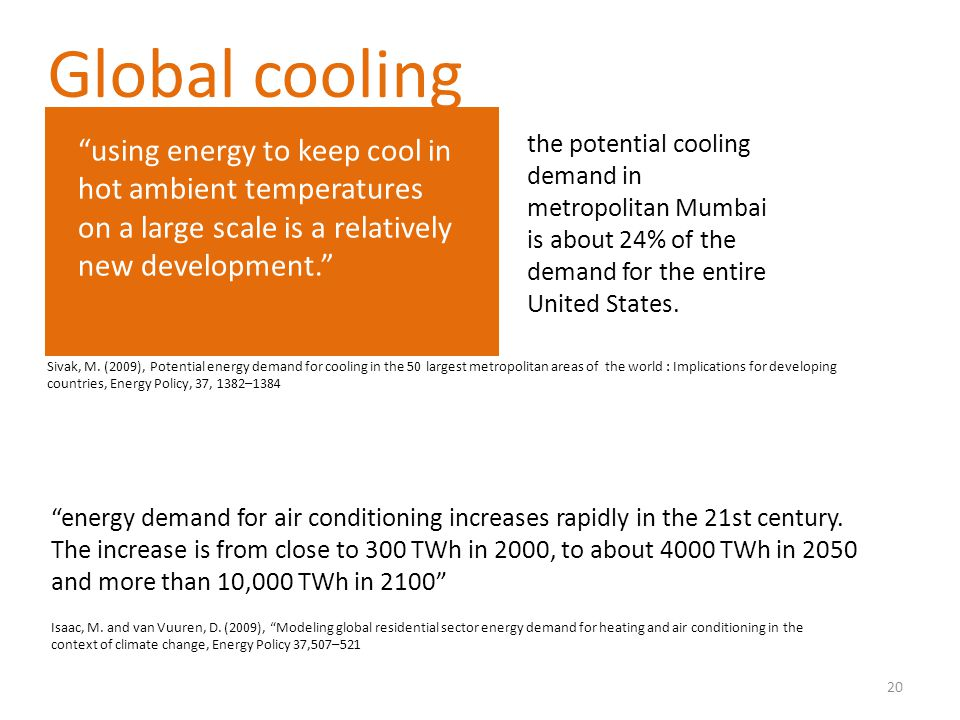 Global cooling using energy to keep cool in hot ambient temperatures on a large scale is a relatively new development.
