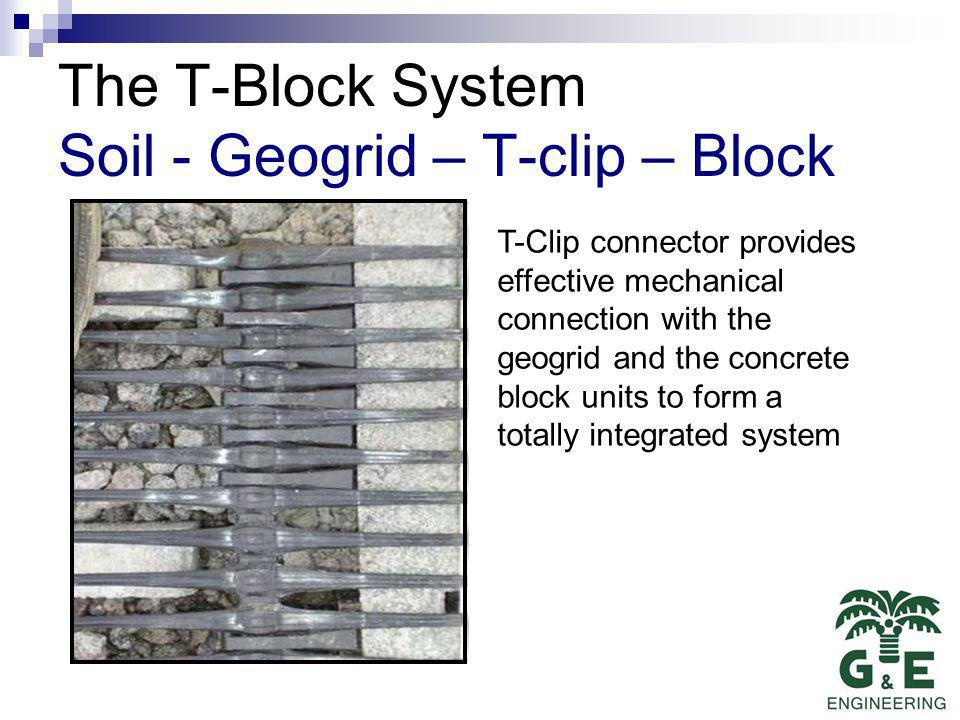 The T-Block System Soil - Geogrid – T-clip – Block