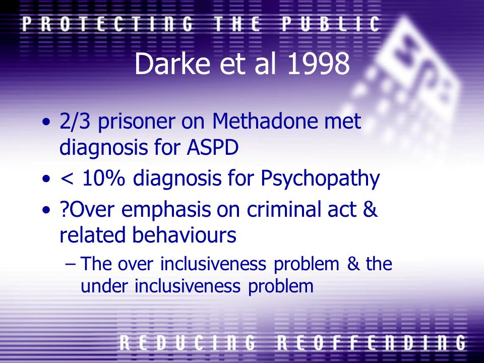 Darke et al 1998 2/3 prisoner on Methadone met diagnosis for ASPD