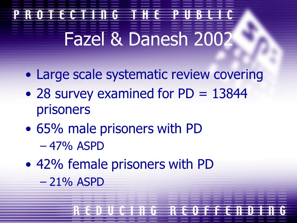 Fazel & Danesh 2002 Large scale systematic review covering