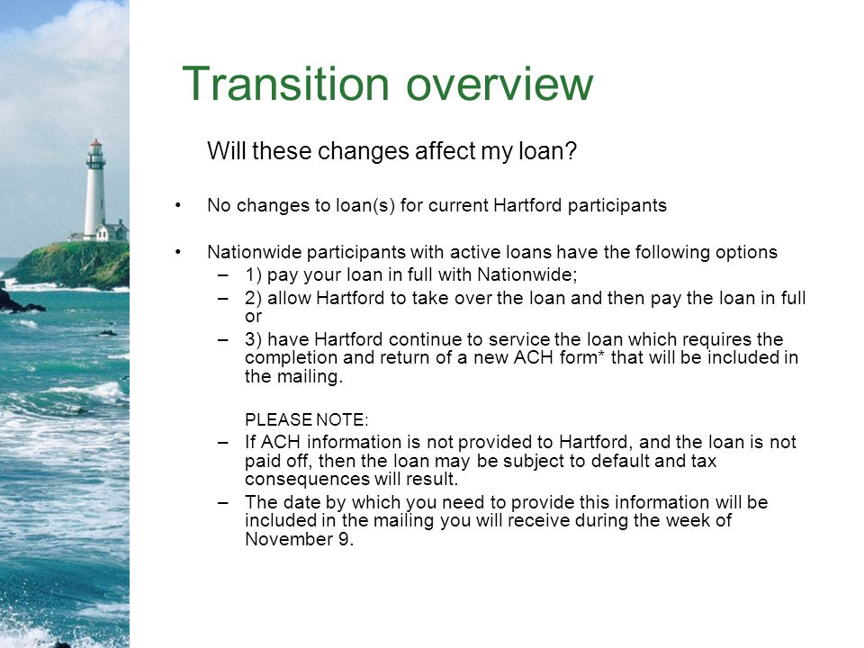 Transition overview Will these changes affect my loan