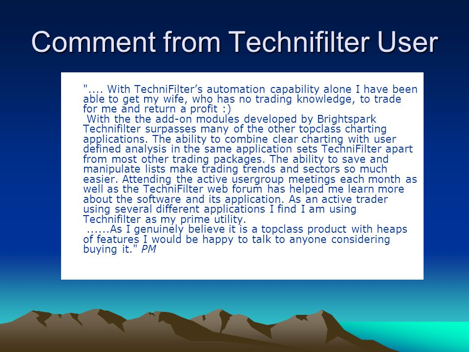 Comment from Technifilter User
