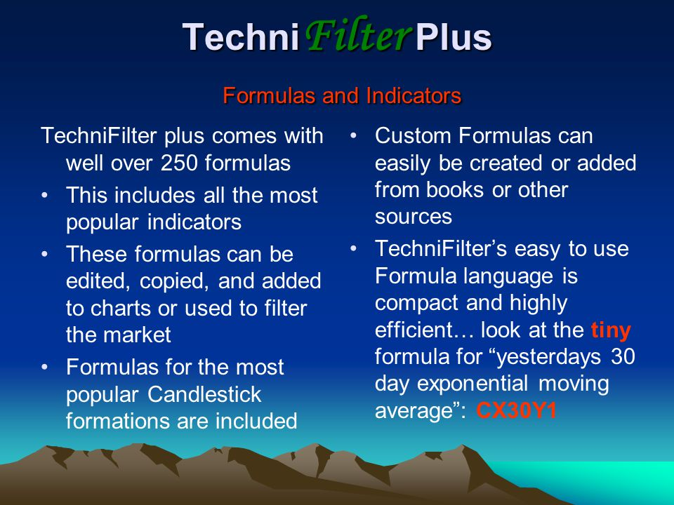 TechniFilter Plus Formulas and Indicators