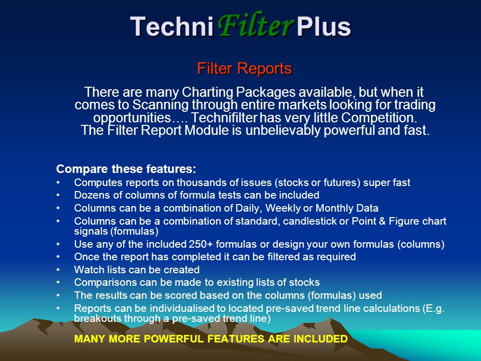 TechniFilter Plus Filter Reports
