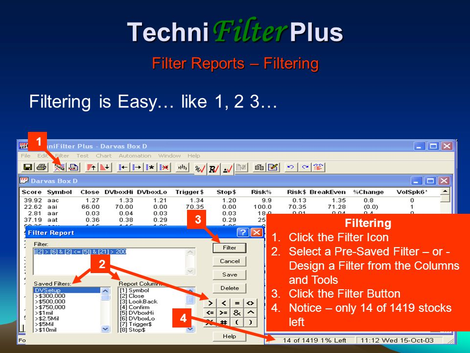 TechniFilter Plus Filter Reports – Filtering