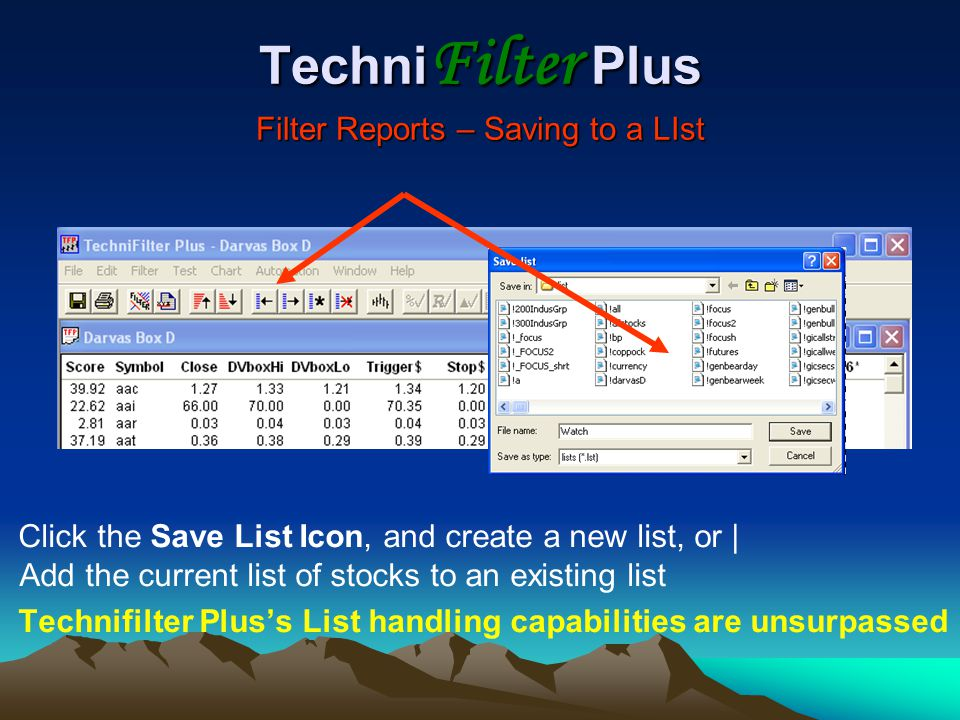 TechniFilter Plus Filter Reports – Saving to a LIst