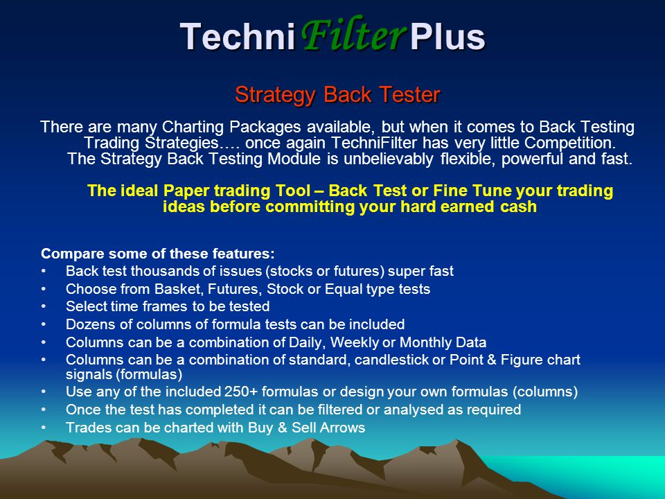 TechniFilter Plus Strategy Back Tester