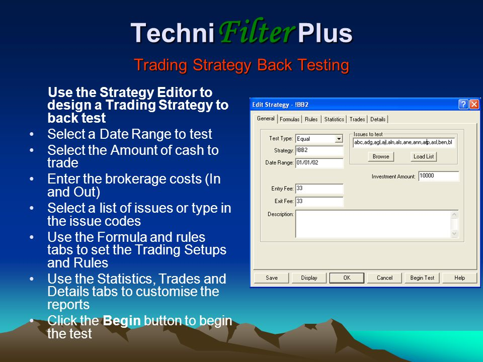 TechniFilter Plus Trading Strategy Back Testing