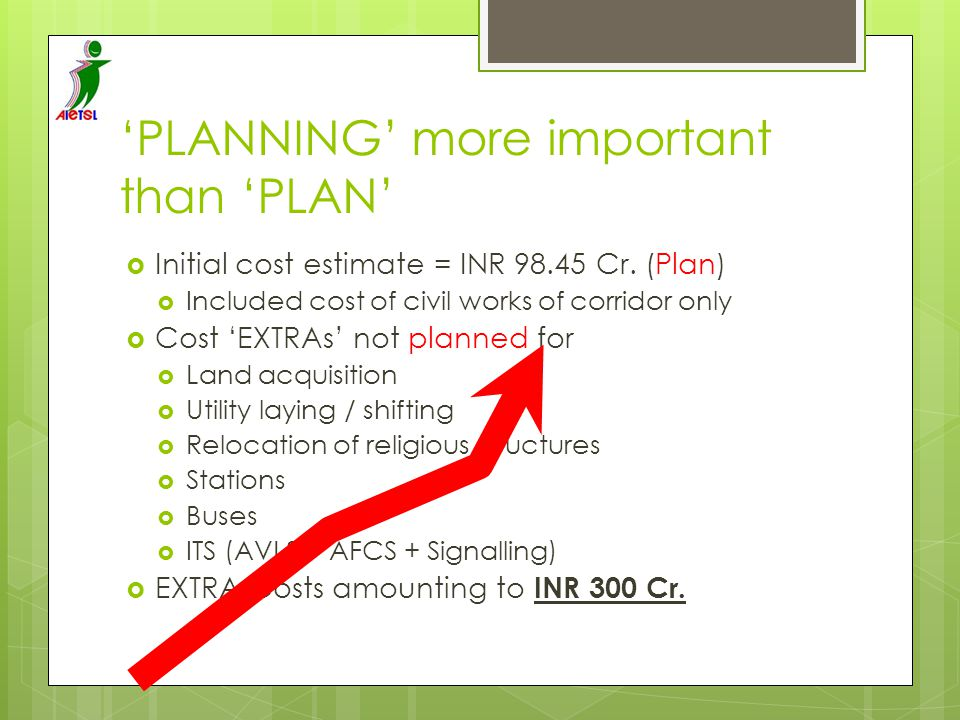 'PLANNING' more important than 'PLAN'