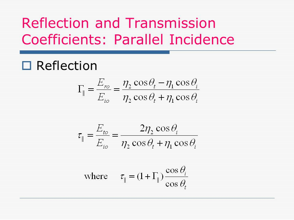 Reflection and Transmission Coefficients: Parallel Incidence