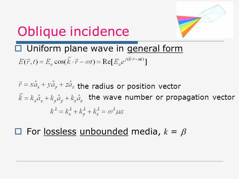 Oblique incidence Uniform plane wave in general form