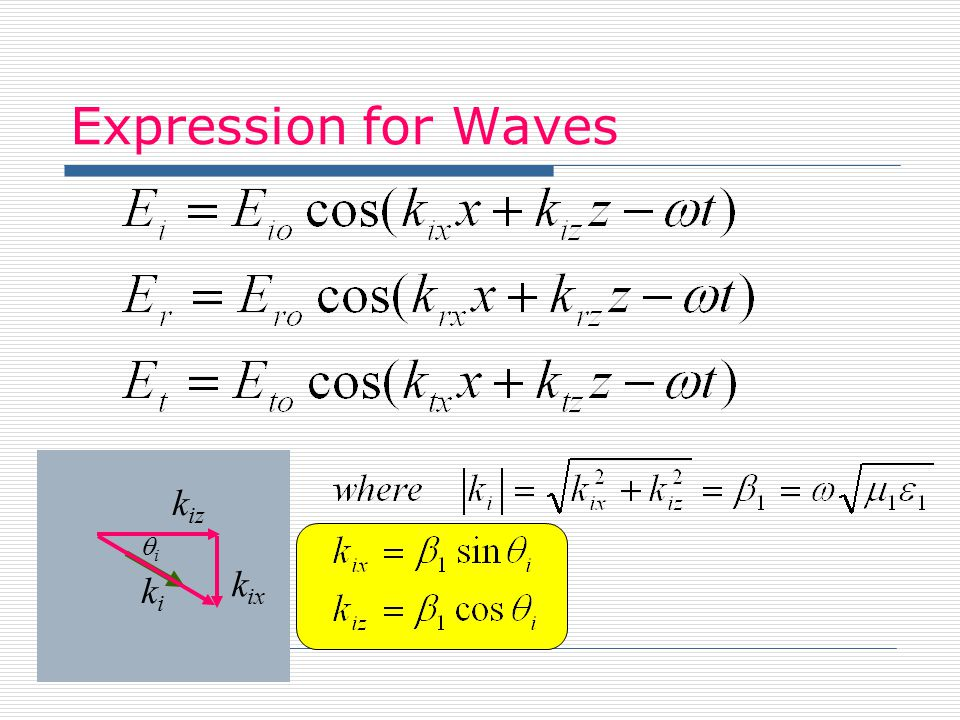 Expression for Waves kiz kix ki qi Dr. S. Cruz