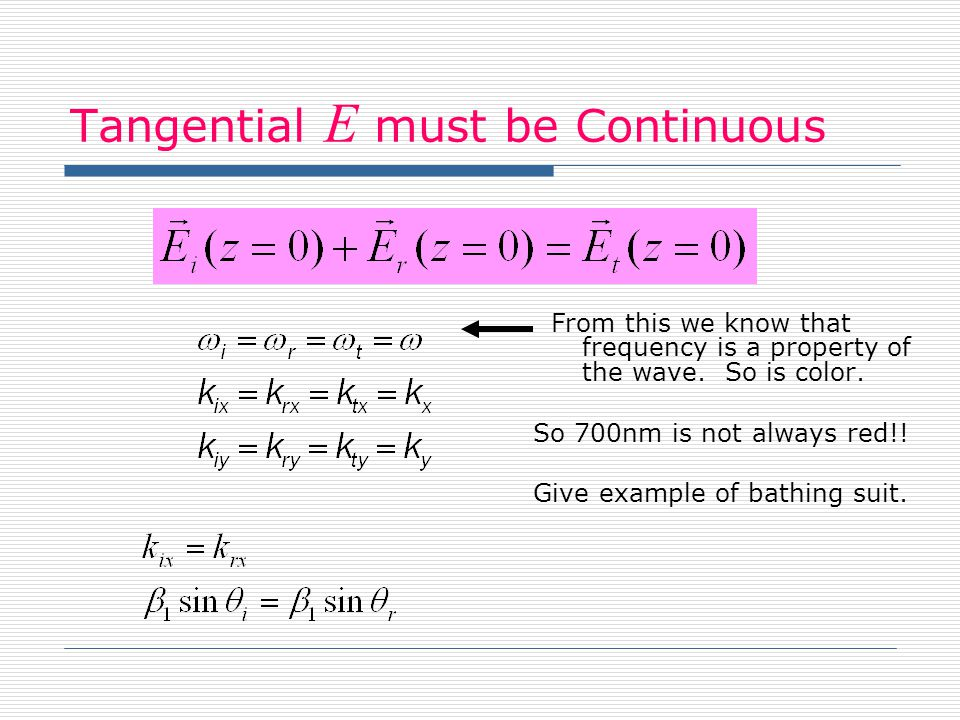 Tangential E must be Continuous