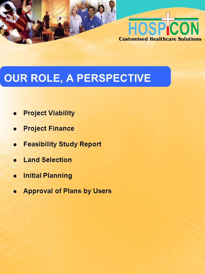 OUR ROLE, A PERSPECTIVE Project Viability Project Finance