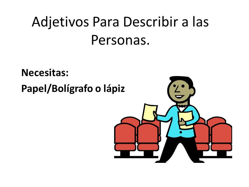 Adjetivos Para Describir a las Personas.