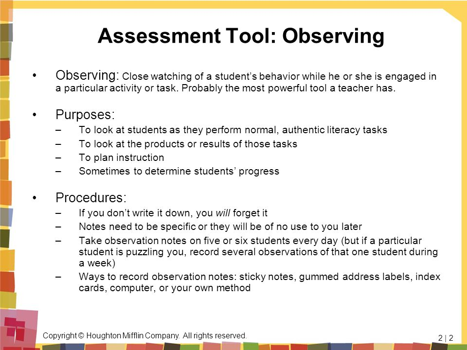 Assessment Tool: Observing