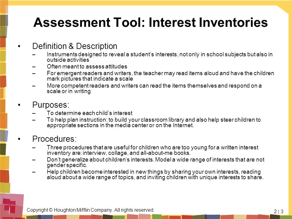 Assessment Tool: Interest Inventories