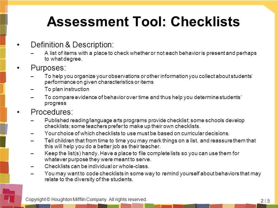 Assessment Tool: Checklists