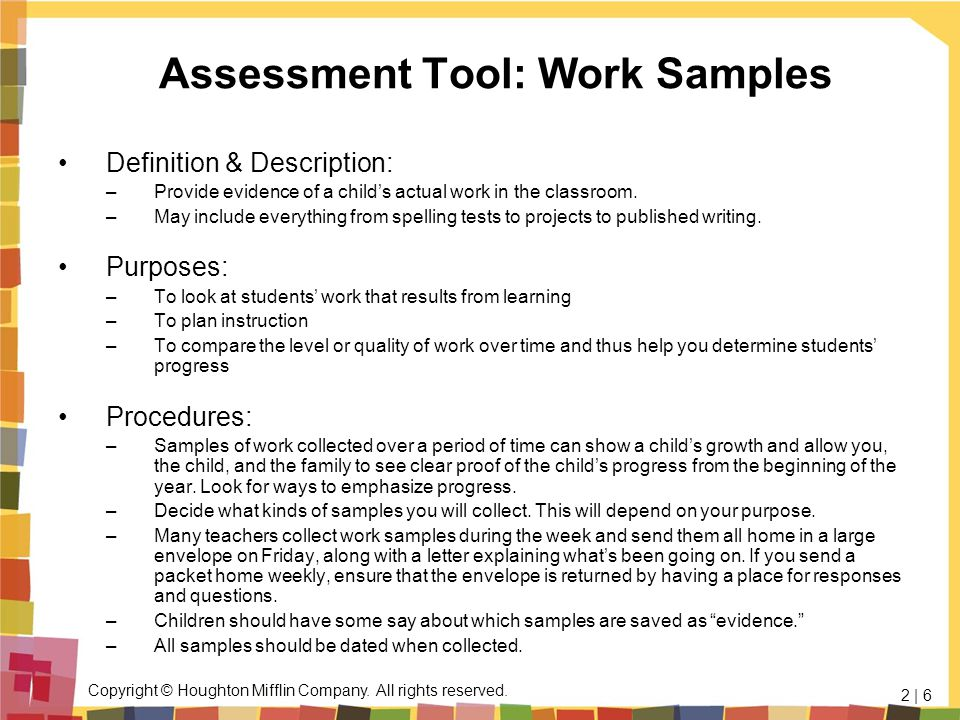 Assessment Tool: Work Samples