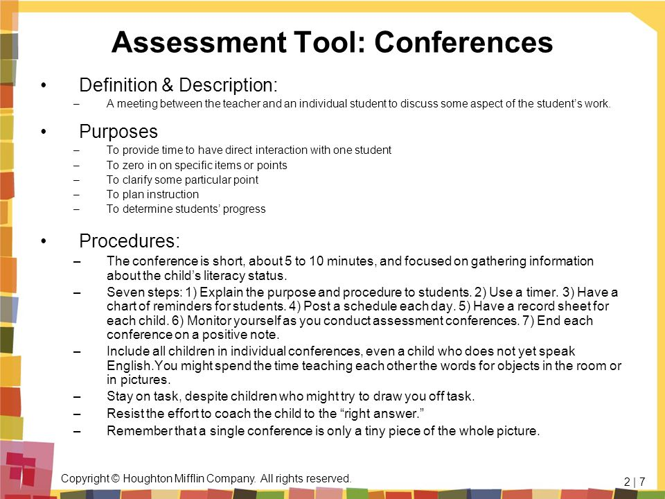 Assessment Tool: Conferences