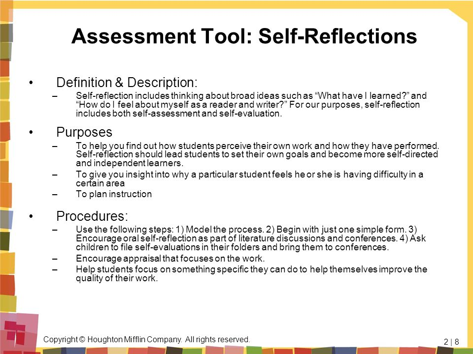 Assessment Tool: Self-Reflections