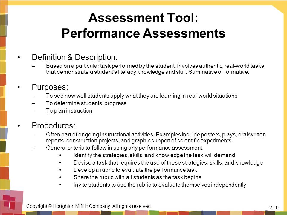 Assessment Tool: Performance Assessments