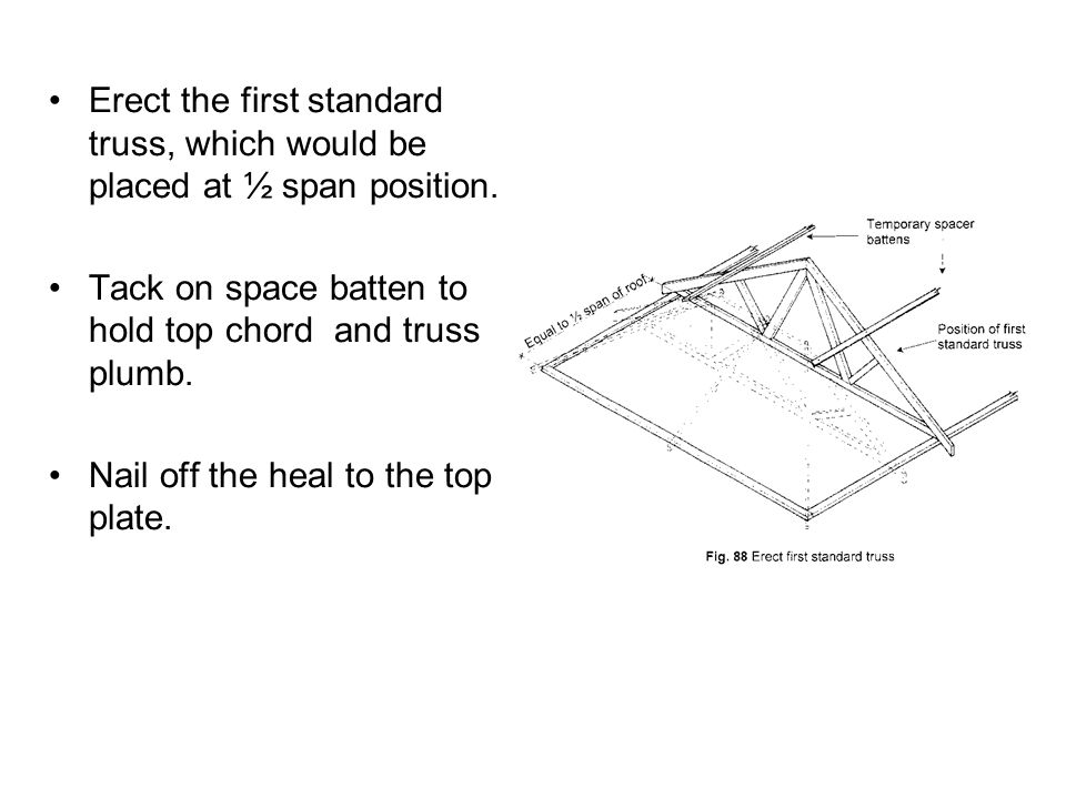 Erect the first standard truss, which would be placed at ½ span position.