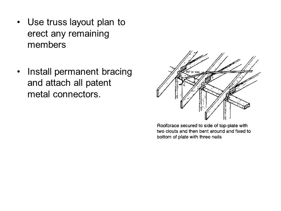 Use truss layout plan to erect any remaining members