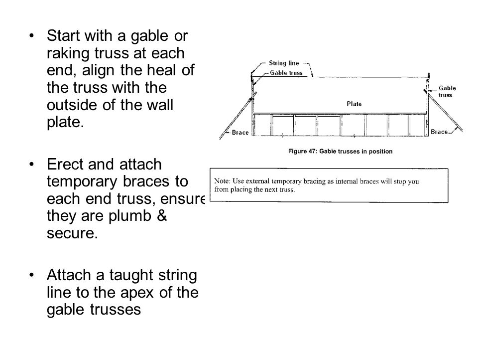 Start with a gable or raking truss at each end, align the heal of the truss with the outside of the wall plate.