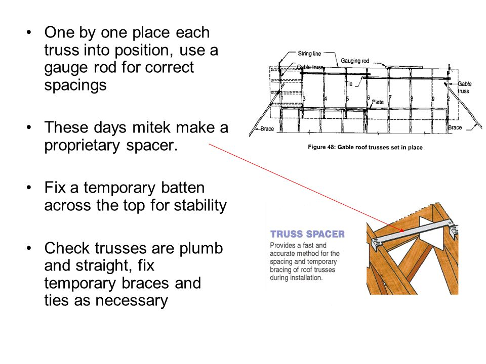 One by one place each truss into position, use a gauge rod for correct spacings
