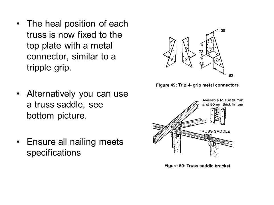 The heal position of each truss is now fixed to the top plate with a metal connector, similar to a tripple grip.