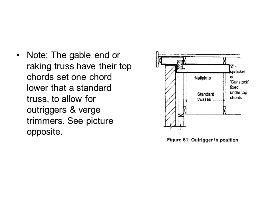 Note: The gable end or raking truss have their top chords set one chord lower that a standard truss, to allow for outriggers & verge trimmers.