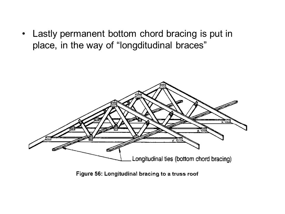 Lastly permanent bottom chord bracing is put in place, in the way of longditudinal braces