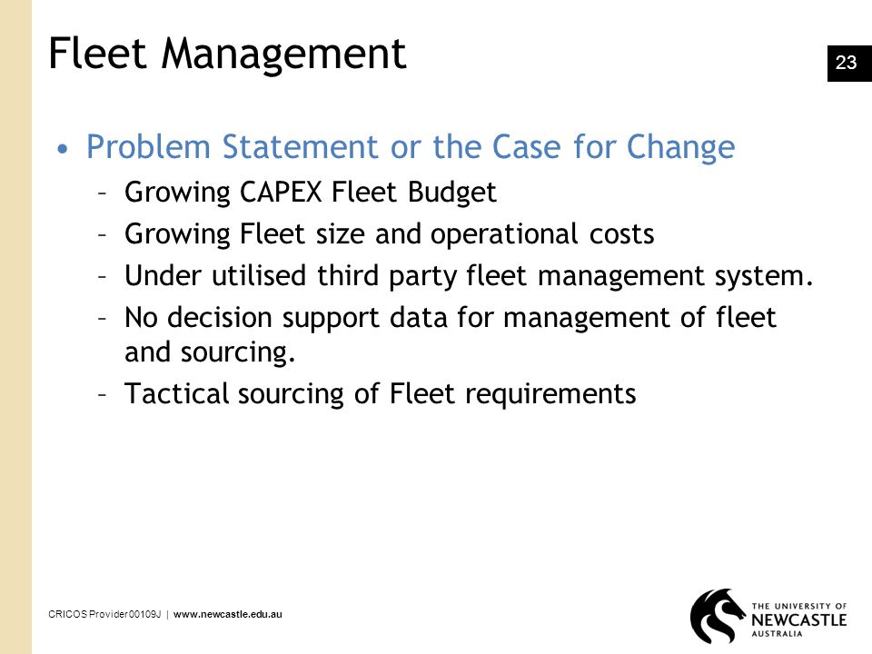 Fleet Management Problem Statement or the Case for Change