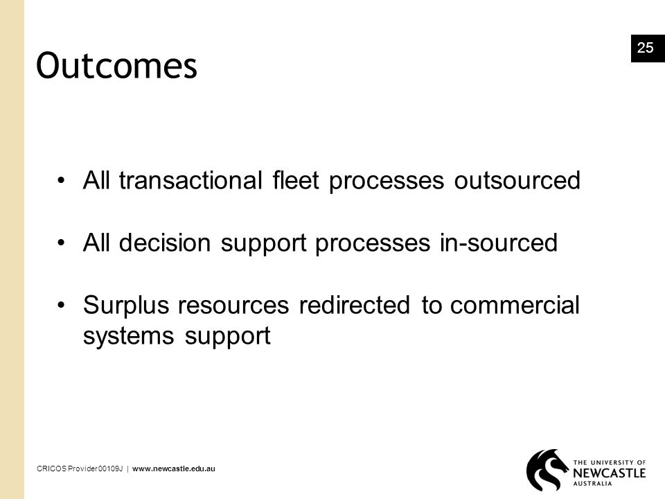 Outcomes All transactional fleet processes outsourced