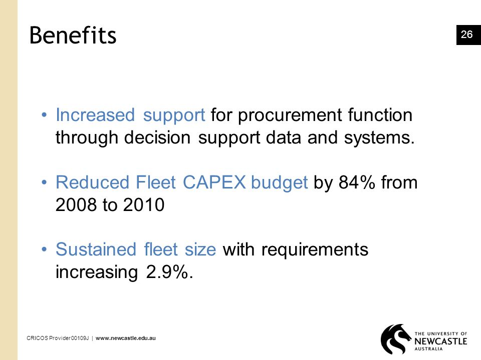 Process Improvement March Benefits. Increased support for procurement function through decision support data and systems.