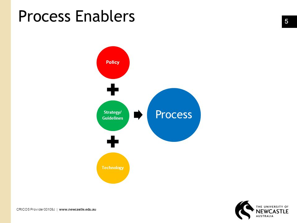 Process Enablers Policy. Strategy/ Guidelines. Technology. Process.