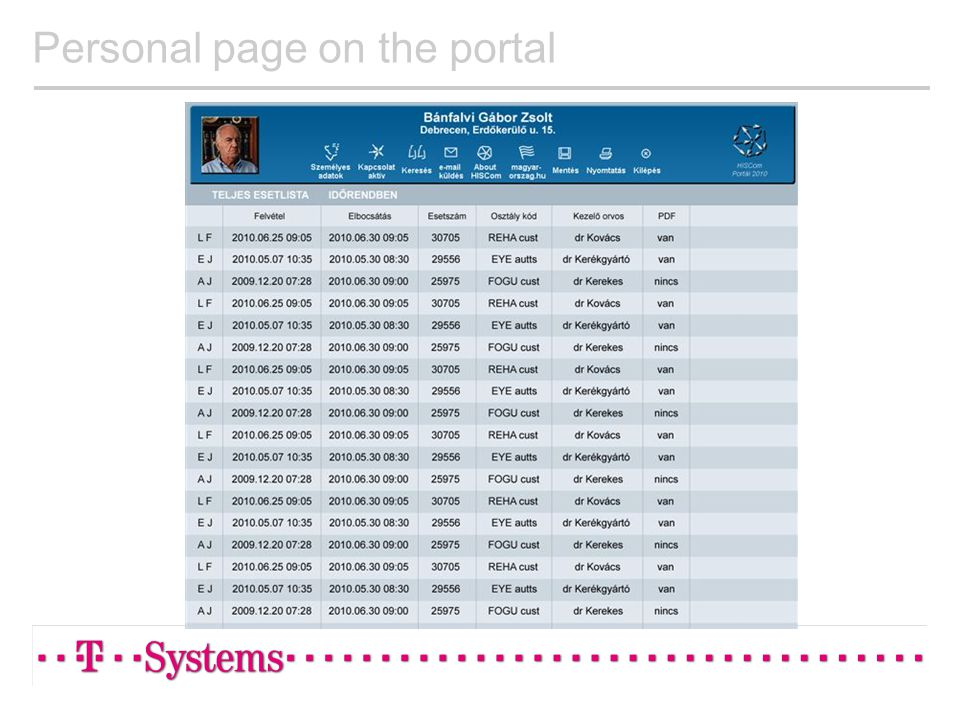Personal page on the portal