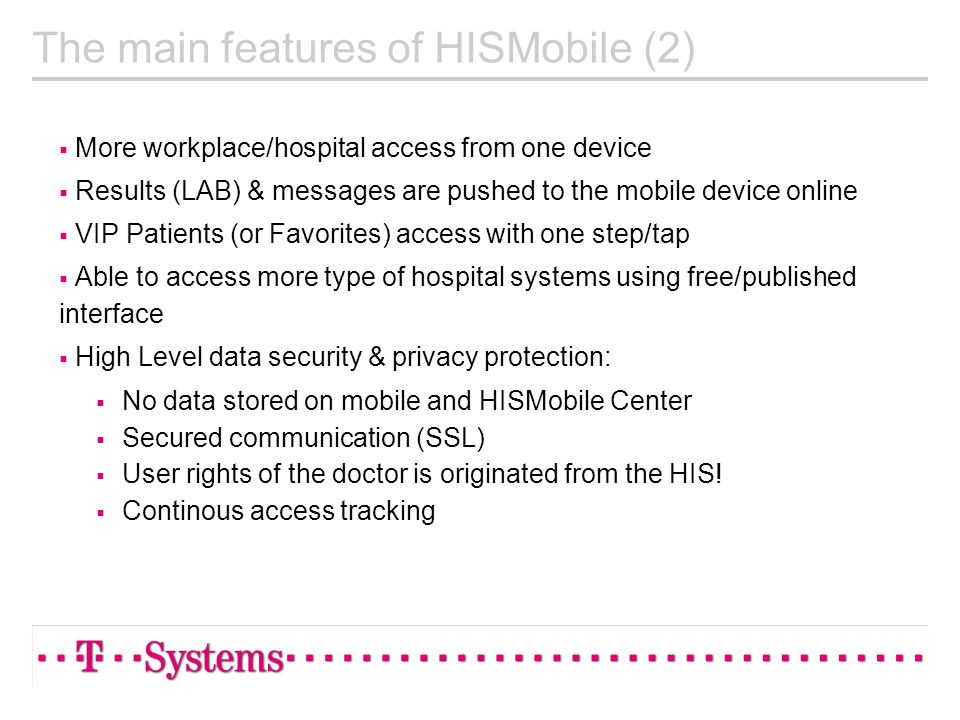 The main features of HISMobile (2)