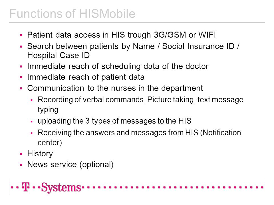 Functions of HISMobile