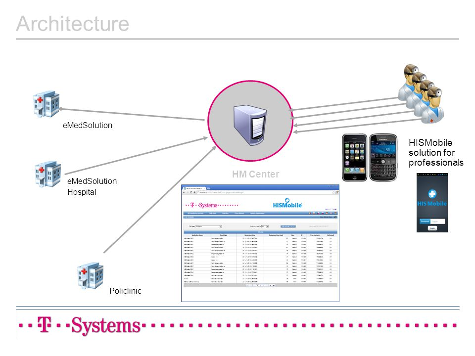 Architecture HISMobile solution for professionals HM Center