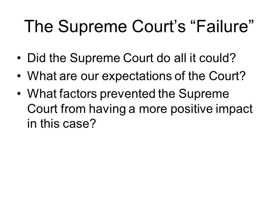 The Supreme Court's Failure