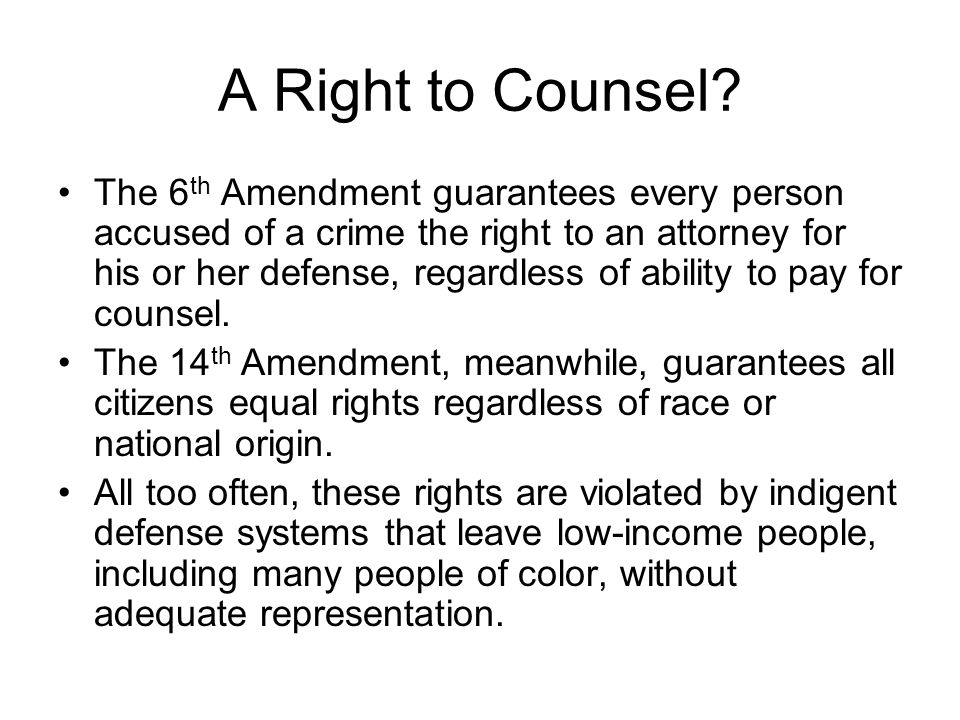 A Right to Counsel
